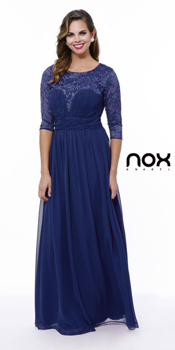 Long Plus Size Royal Blue Semi Formal Gown Lace Mid Sleeves ...