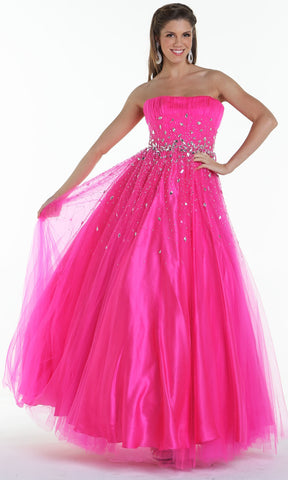 ON SPECIAL LIMITED STOCK - Long Puffy Fuchsia Formal Dress A Line Sparkling Jewel Strapless