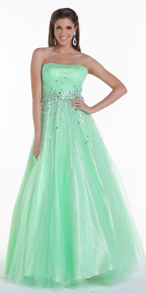 ON SPECIAL LIMITED STOCK - Long Puffy Mint Formal Dress A Line Sparkling Jewel Strapless
