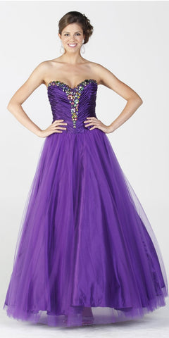 ON SPECIAL LIMITED STOCK - Long Puffy Purple Dress Satin Mesh Formal Jeweled Strapless Sweet