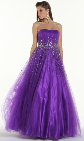 ON SPECIAL LIMITED STOCK - Long Puffy Purple Formal Dress A Line Sparkling Jewel Strapless
