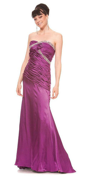 ON SPECIAL LIMITED STOCK - Long Purple Prom Dress Strapless Sweetheart Neck Charmeuse Gown Bead