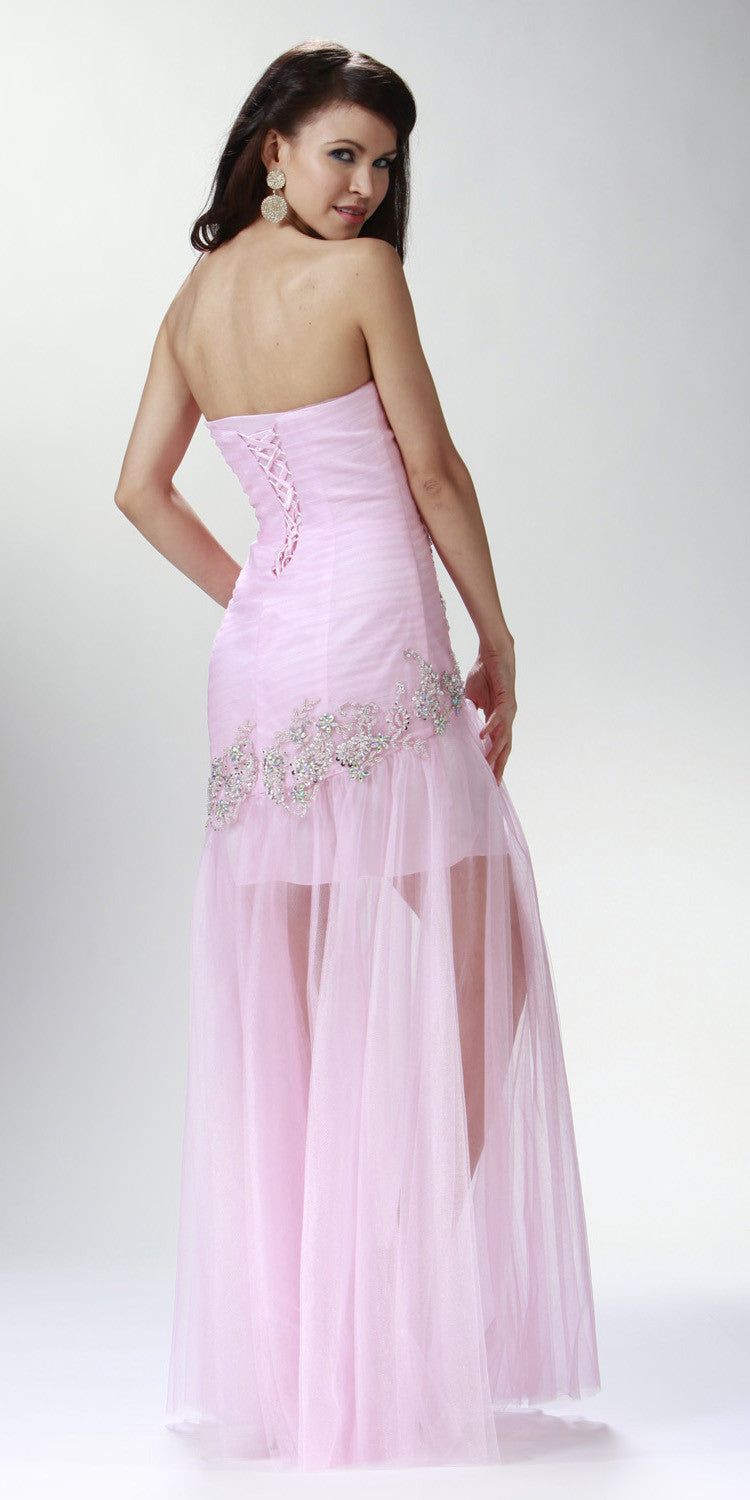 ON SPECIAL LIMITED STOCK - Long Sheer Studded Pink Column Special Occasion Gown