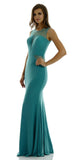 Long Sleeveless Fitted Mineral Party Dress ITY Mesh Stone