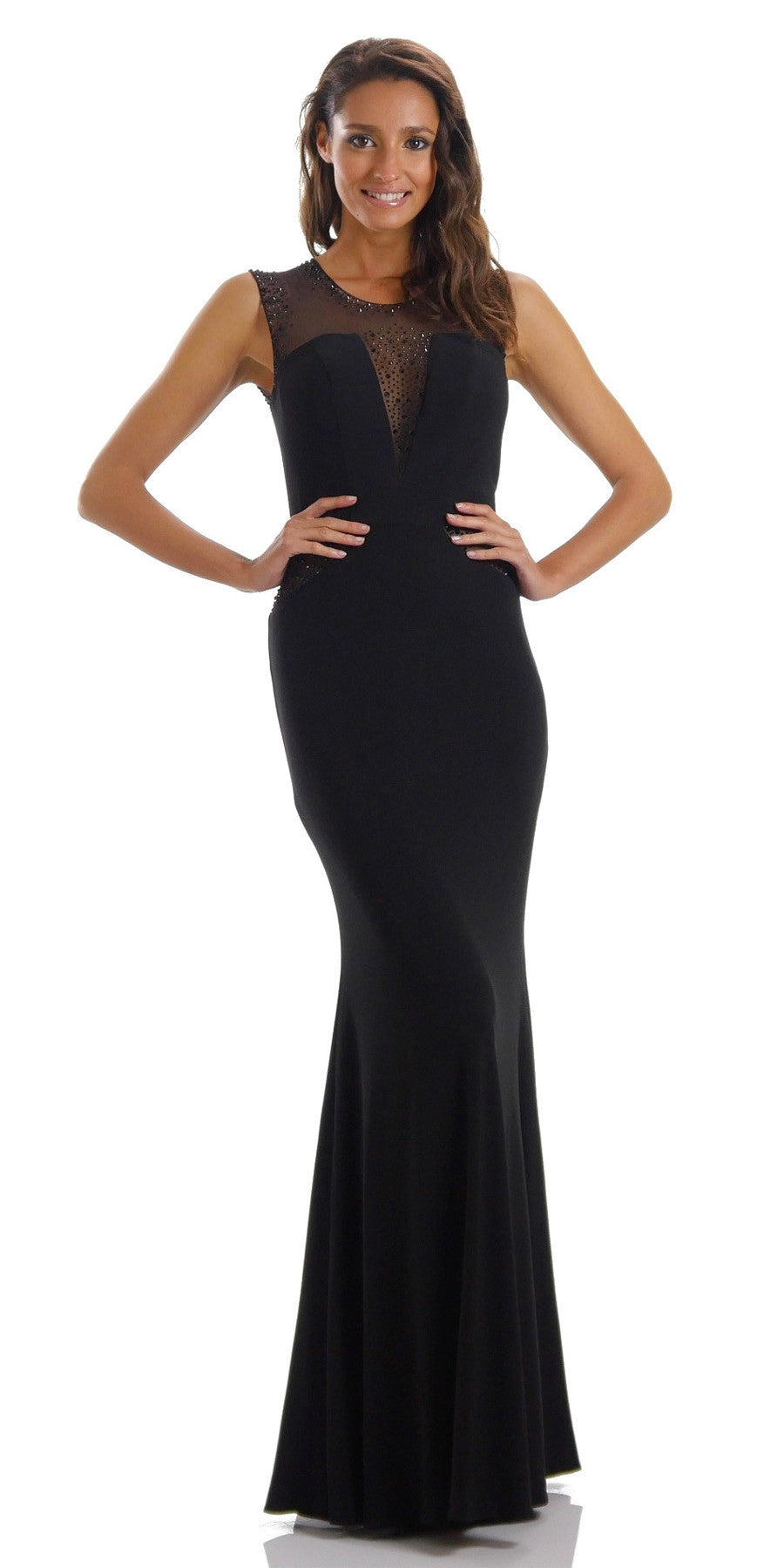 Long Sleeveless Fitted Black Party Dress ITY Mesh Stone