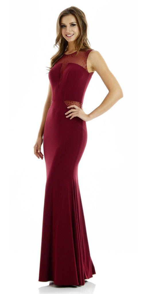Long Sleeveless Fitted Burgundy Party Dress ITY Mesh Stone