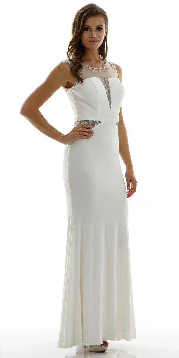 b3efcda1d3401 Long Sleeveless Fitted Ivory Party Dress ITY Mesh Stone