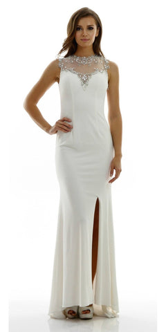 ON SPECIAL LIMITED STOCK - Long Sleeveless ITY Formal Gown Ivory Sexy Front Slit