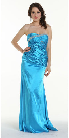 ON SPECIAL LIMITED STOCK - Long Turquoise Prom Dress Strapless Sweetheart Neck Charmeuse Gown Bead