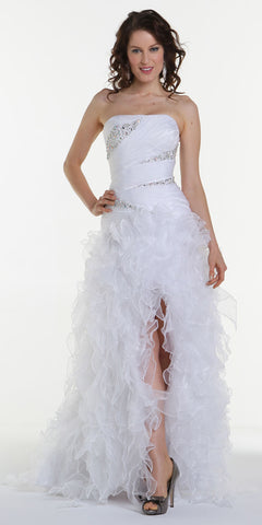 ON SPECIAL LIMITED STOCK - Long White Special Occasion Dress Strapless Shiny Organza Layered