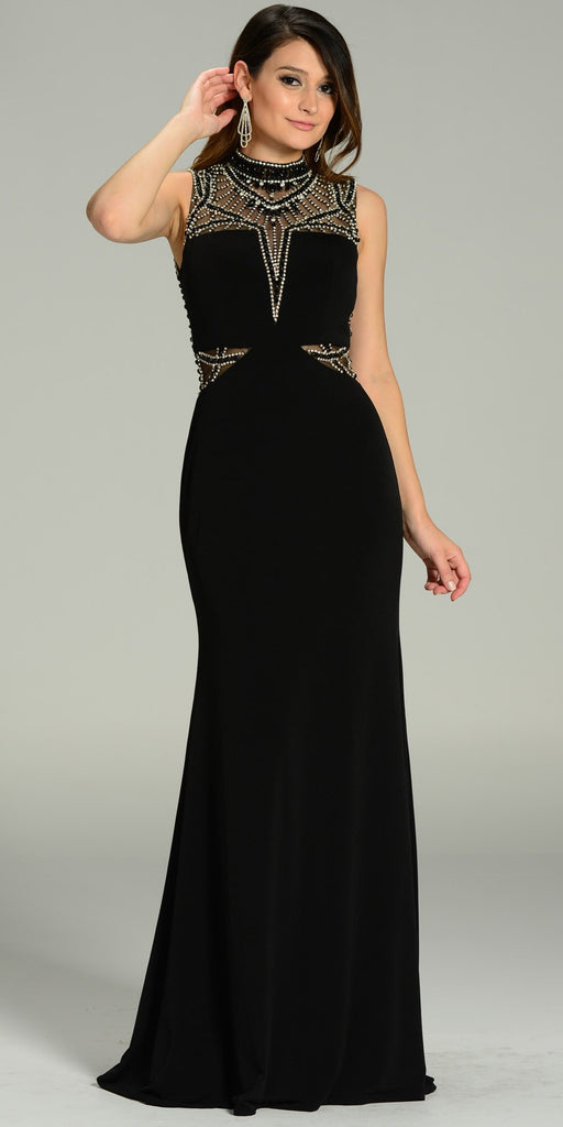 ON SPECIAL LIMITED STOCK - Luxurious Floor Length Formal Gown Black High Neck Beading