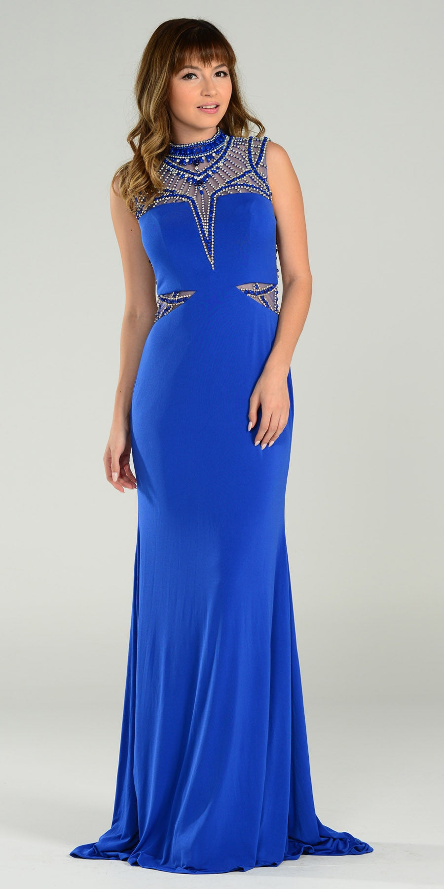 ON SPECIAL LIMITED STOCK - Luxurious Floor Length Formal Gown Royal Blue High Neck Beading