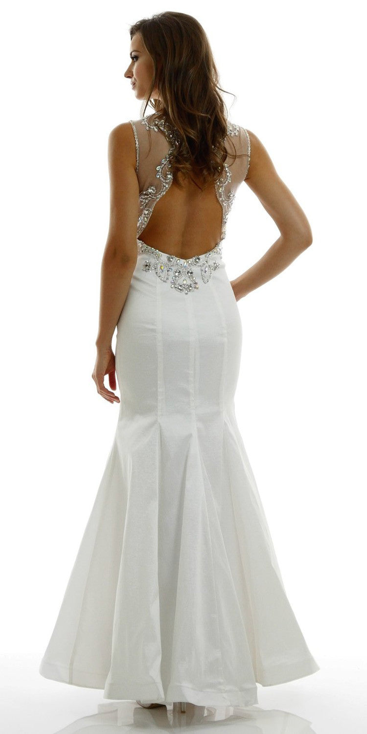 Mermaid Off White Prom Dress Taffeta Illusion Neck Rhinestones