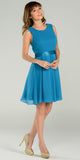 Modest Teal Semi Formal Chiffon Dress Knee Length A Line