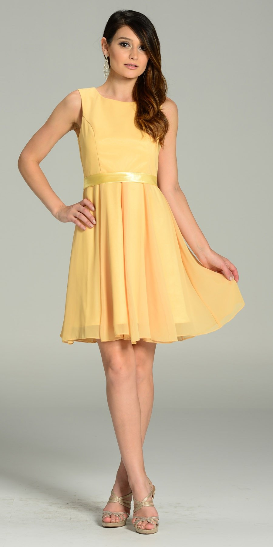 5411ad75067 Modest Yellow Semi Formal Chiffon Dress Knee Length A Line. Tap to expand