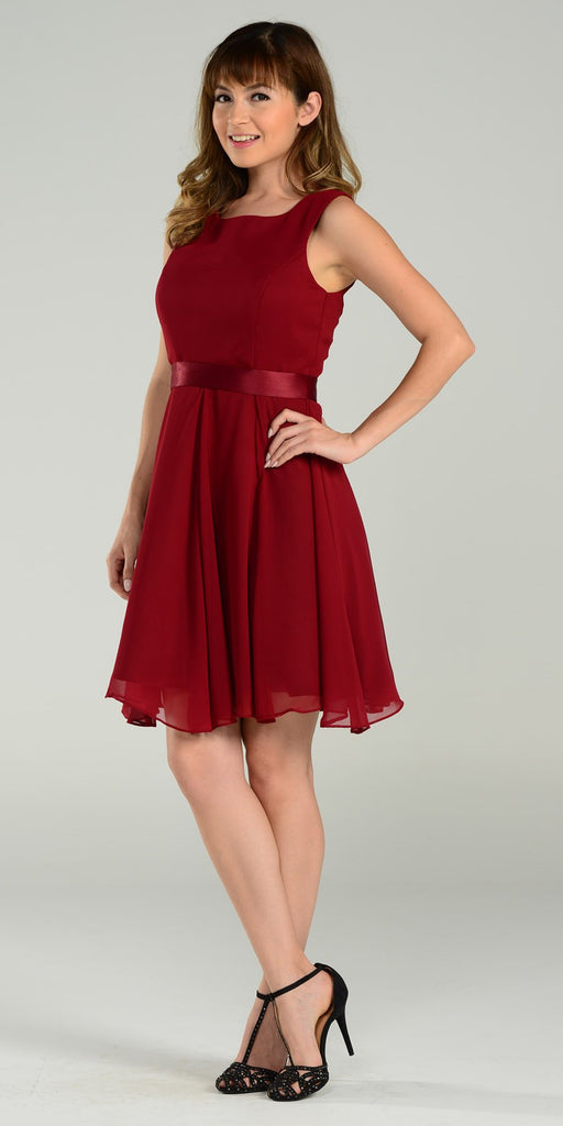 Modest Burgundy Semi Formal Chiffon Dress Knee Length A Line