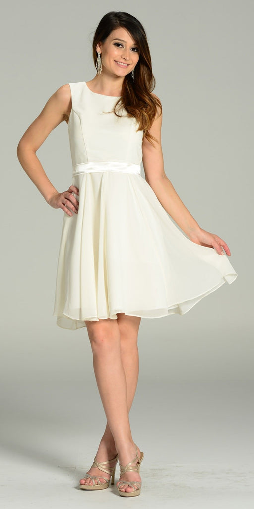 Modest Ivory Semi Formal Chiffon Dress Knee Length A Line