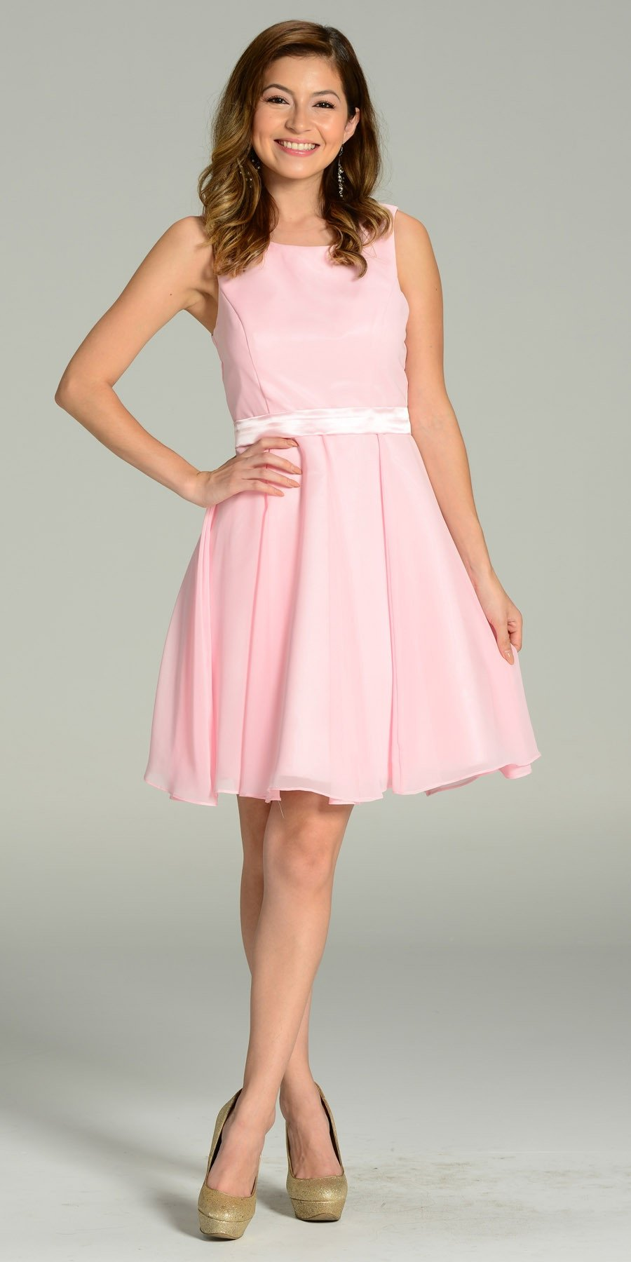 a1292f66d9 Modest Pink Semi Formal Chiffon Dress Knee Length A Line. Tap to expand