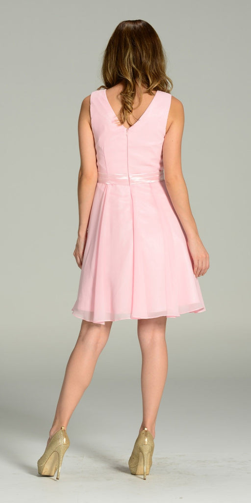 Modest Pink Semi Formal Chiffon Dress Knee Length A Line