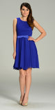 Modest Royal Blue Semi Formal Chiffon Dress Knee Length A Line