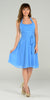Modest Multi Chiffon Halter Strap Perry Blue Semi Formal Dress Short