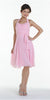 Modest Multi Chiffon Halter Strap Pink Semi Formal Dress Short