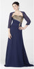ON SPECIAL LIMITED STOCK - Navy Blue Gala Dinner Party Gown Gold Beads Strapless Bolero Jacket