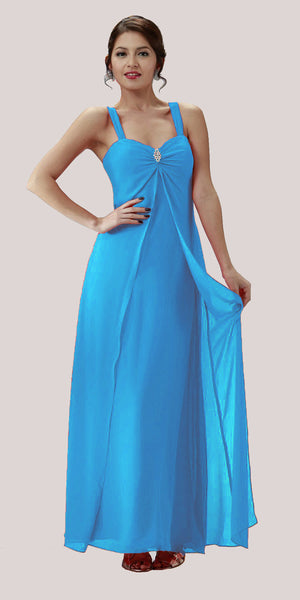 Ocean Blue Semi Formal Dress Long Chiffon Overlay Wide Straps