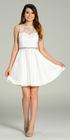 Off White A Line Short Satin/Lace Dress Sleeveless Rhinestone Waist