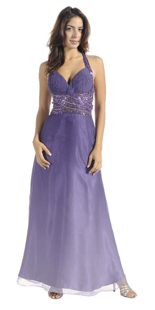 ON SPECIAL LIMITED STOCK - Ombre Lilac Chiffon Prom Dress Sequin Waist Beaded Cross Back