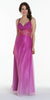 ON SPECIAL LIMITED STOCK - Tie Dyed Orchid Chiffon Prom Dress Sequin Waist Beaded Cross Back