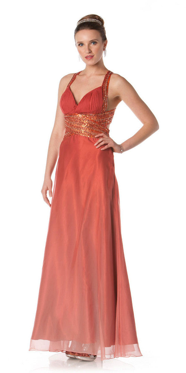 ON SPECIAL LIMITED STOCK - Ombre Peach Chiffon Prom Dress Sequin Waist Beaded Cross Back