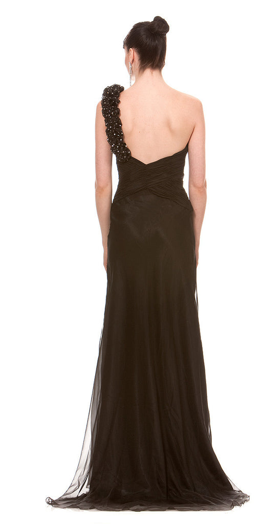 ON SPECIAL LIMITED STOCK - One Shoulder Formal Black Dress Chiffon Rose Petal Strap Greek Gown