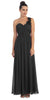 One Shoulder Ruched Black Long A Line Semi Formal Gown