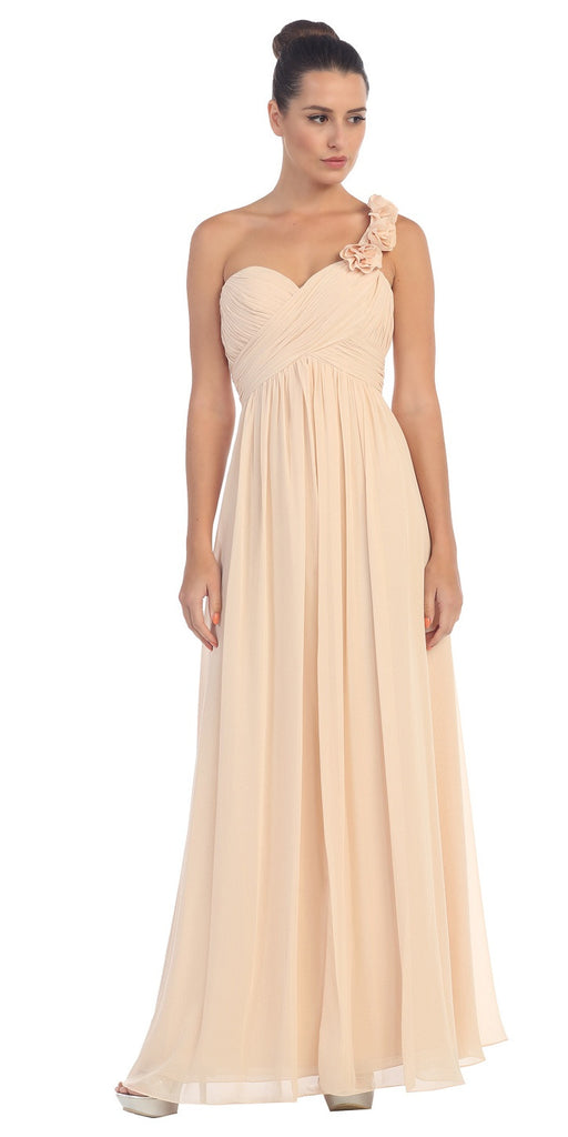 One Shoulder Ruched Champagne Long A Line Semi Formal Gown
