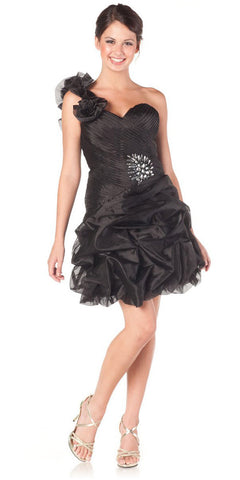 ON SPECIAL LIMITED STOCK - One Shoulder Strap Black Short Bubble Prom Dress Sweetheart Neck