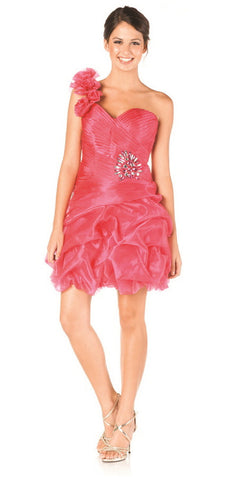 ON SPECIAL LIMITED STOCK - One Shoulder Strap Fuchsia Short Bubble Prom Dress Sweetheart Neck