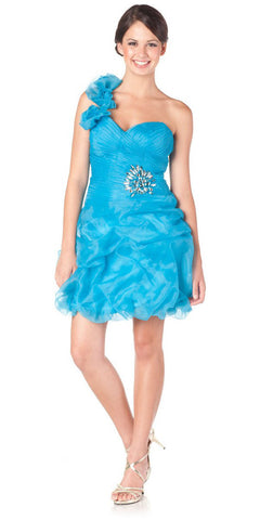 ON SPECIAL LIMITED STOCK - One Shoulder Strap Turquoise Short Bubble Prom Dress Sweetheart Neck