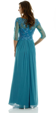 Teal Full Length Lace Chiffon Dress Illusion Neck Mid Sleeves