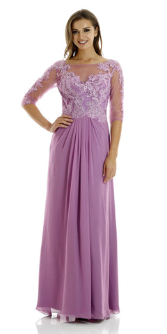 Orchid Full Length Lace Chiffon Dress Illusion Neck Mid Sleeves