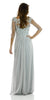 Silver Full Length Lace Chiffon Dress Illusion Neck Mid Sleeves