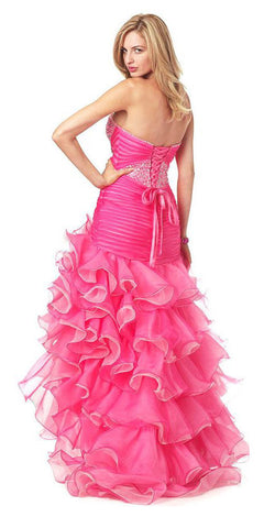 ON SPECIAL LIMITED STOCK - Pink/Fuchsia Special Occasion Dress Strapless Ruffled Beading Lace up Back Open Front Slit
