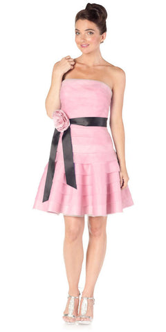 ON SPECIAL LIMITED STOCK - Pink Short Bridesmaid Dress Pleated Strapless Rose Waist Black Ribbon