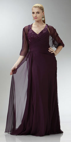 ON SPECIAL LIMITED STOCK - Plum Chiffon Beaded Mother of Bride Dress Tank Strap Bolero Jacket