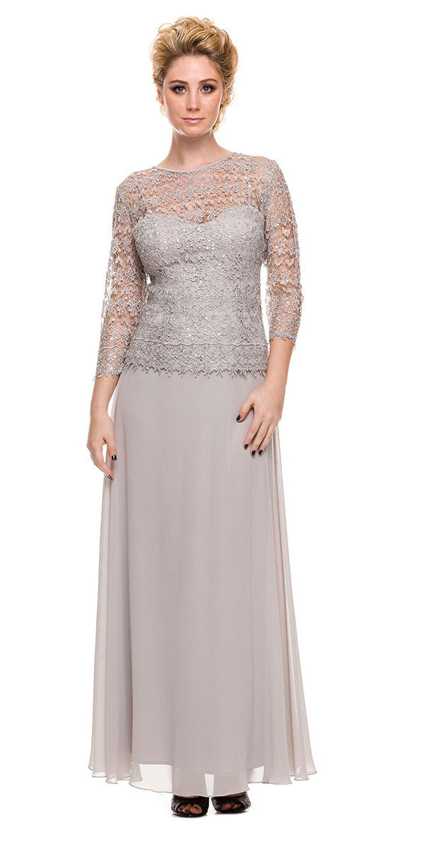 Plus Size Chiffonlace Mother Bride Dress Eggplant Discountdressshop