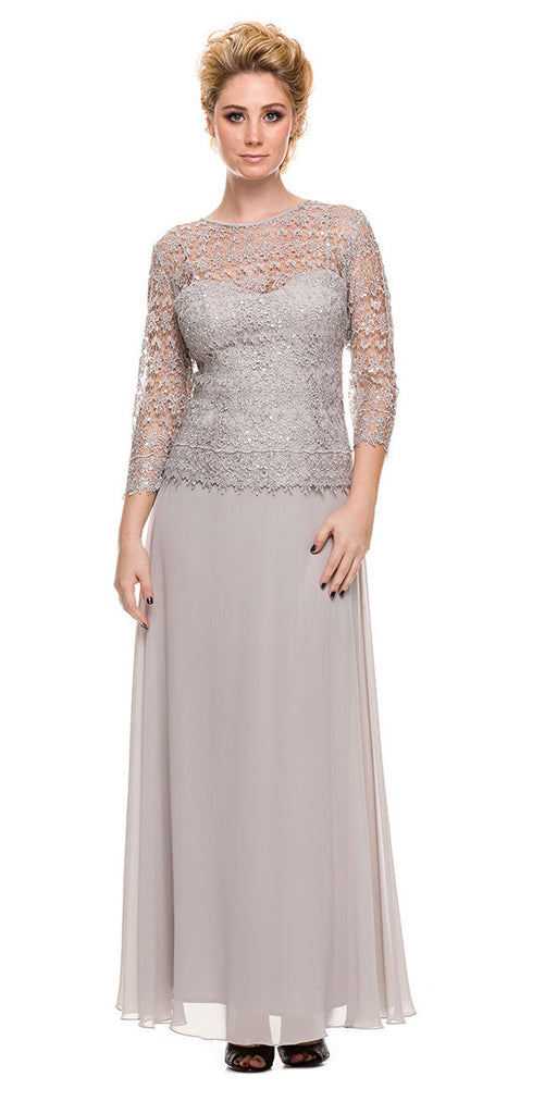 Plus Size Chiffon/Lace Mother Bride Dress Silver