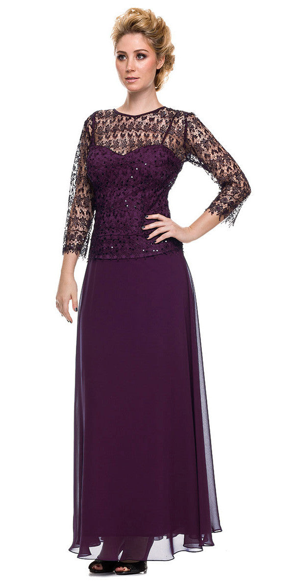 Plus Size Chiffon/Lace Mother Bride Dress Eggplant
