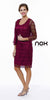 Plus Size Class Reunion Dress Burgundy Knee Length Includes Jacket