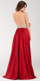 Poly USA 7188 - A Line Mesh/Satin Prom Dress Burgundy Sleeveless