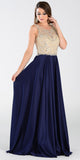 Poly USA 7188 - A Line Mesh/Satin Prom Dress Navy Blue Sleeveless